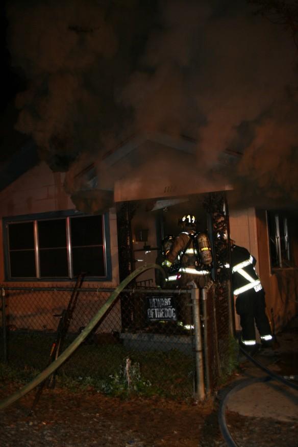 P st FIRE line in front door